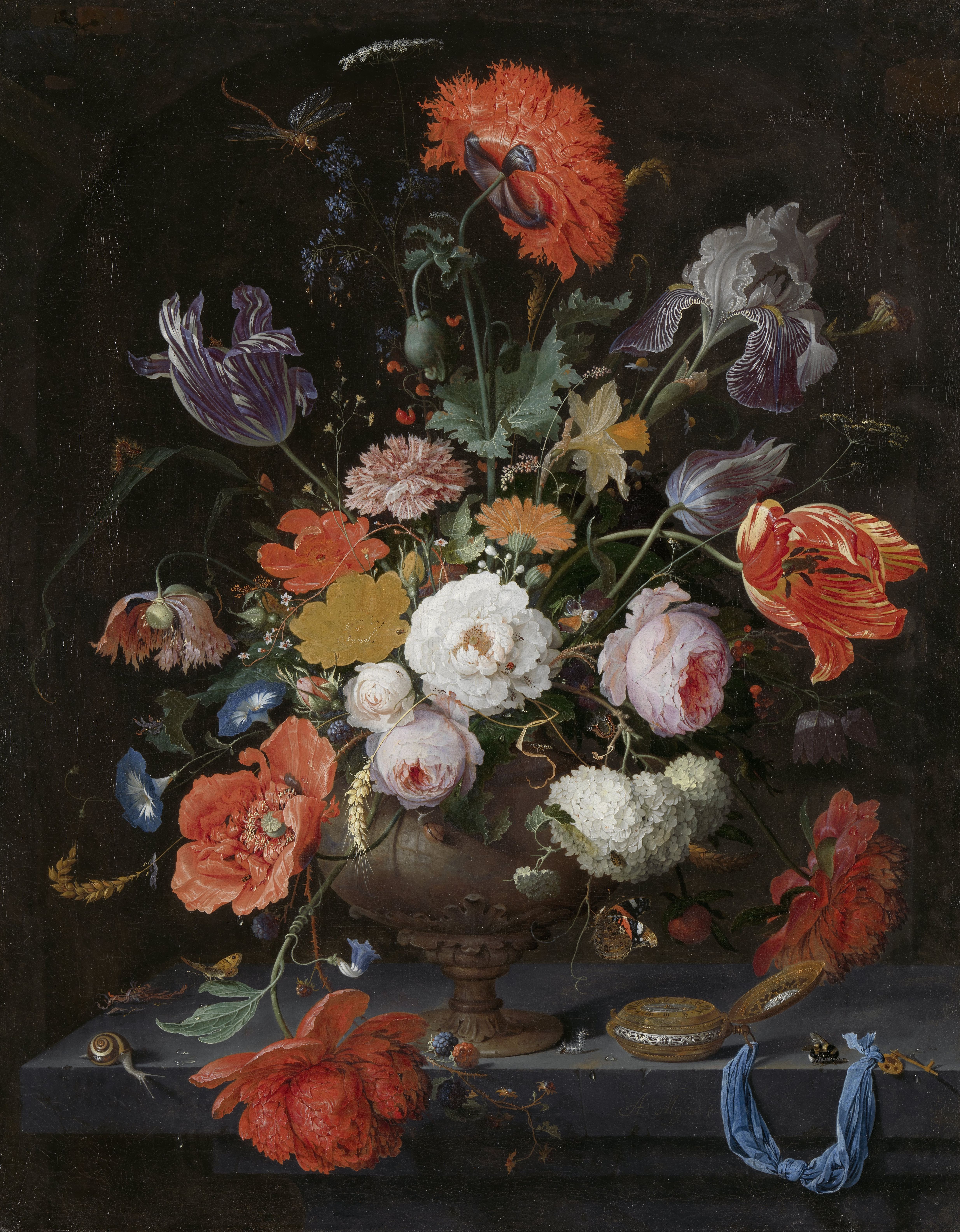 Still Life with Flowers and a Watch, Abraham Mignon, c. 1660 - c. 1679