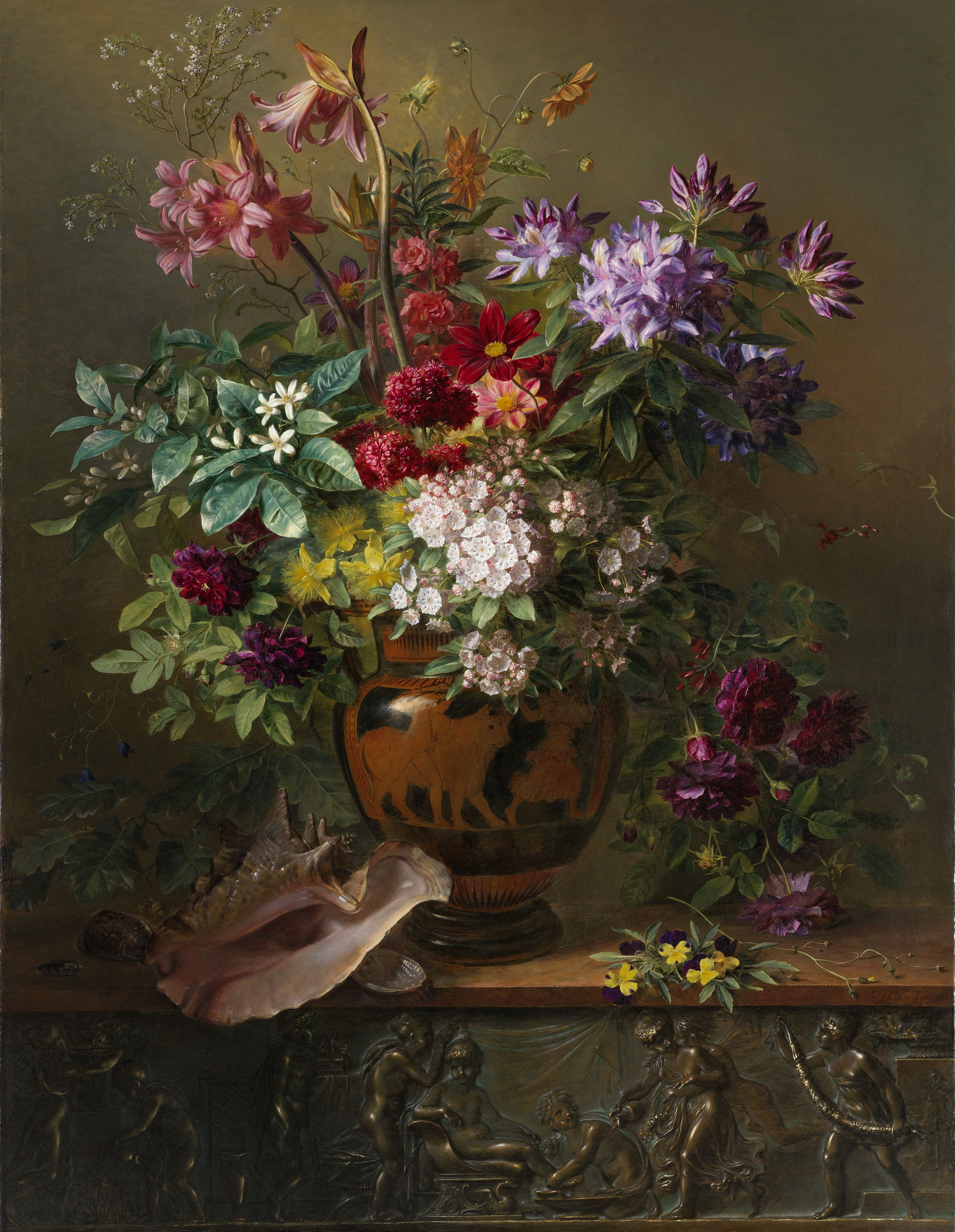 Still Life with Flowers in a Greek Vase Allegory of Spring, Georgius Jacobus Johannes van Os, 1817
